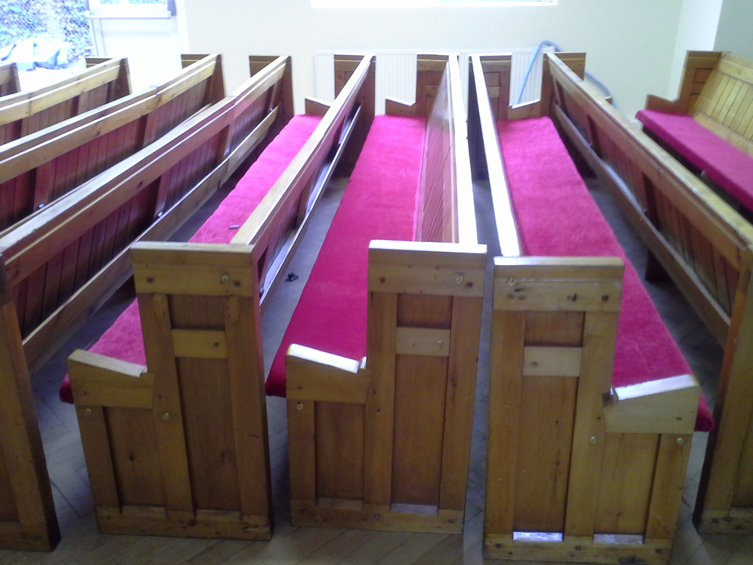 Church seating re-upholstery and wood repair